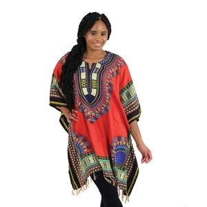 Women's Oversized Traditional Print Poncho